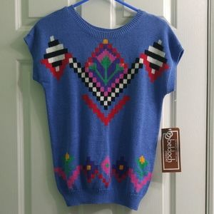 Retro 80s Beldoch Popper Short Sleeve Sweater NWT